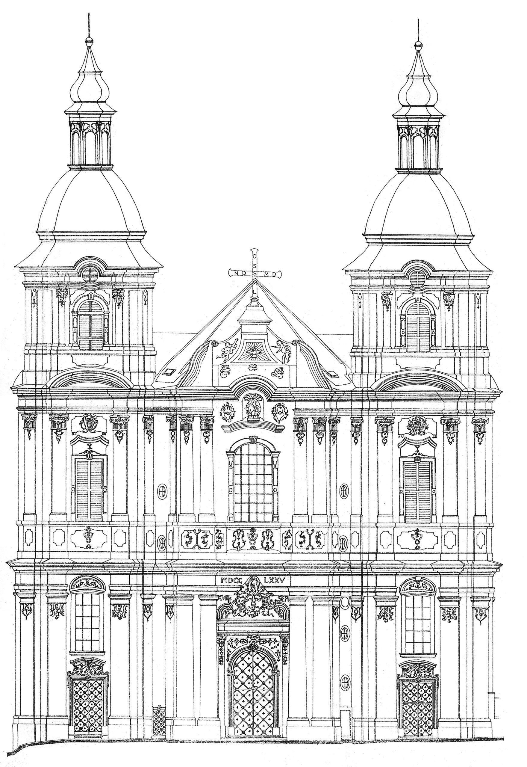 Kostel Nanebevzetí Panny Marie vPřešticích, hlavní průčelí – nerealizovaná varianta dostavby věží