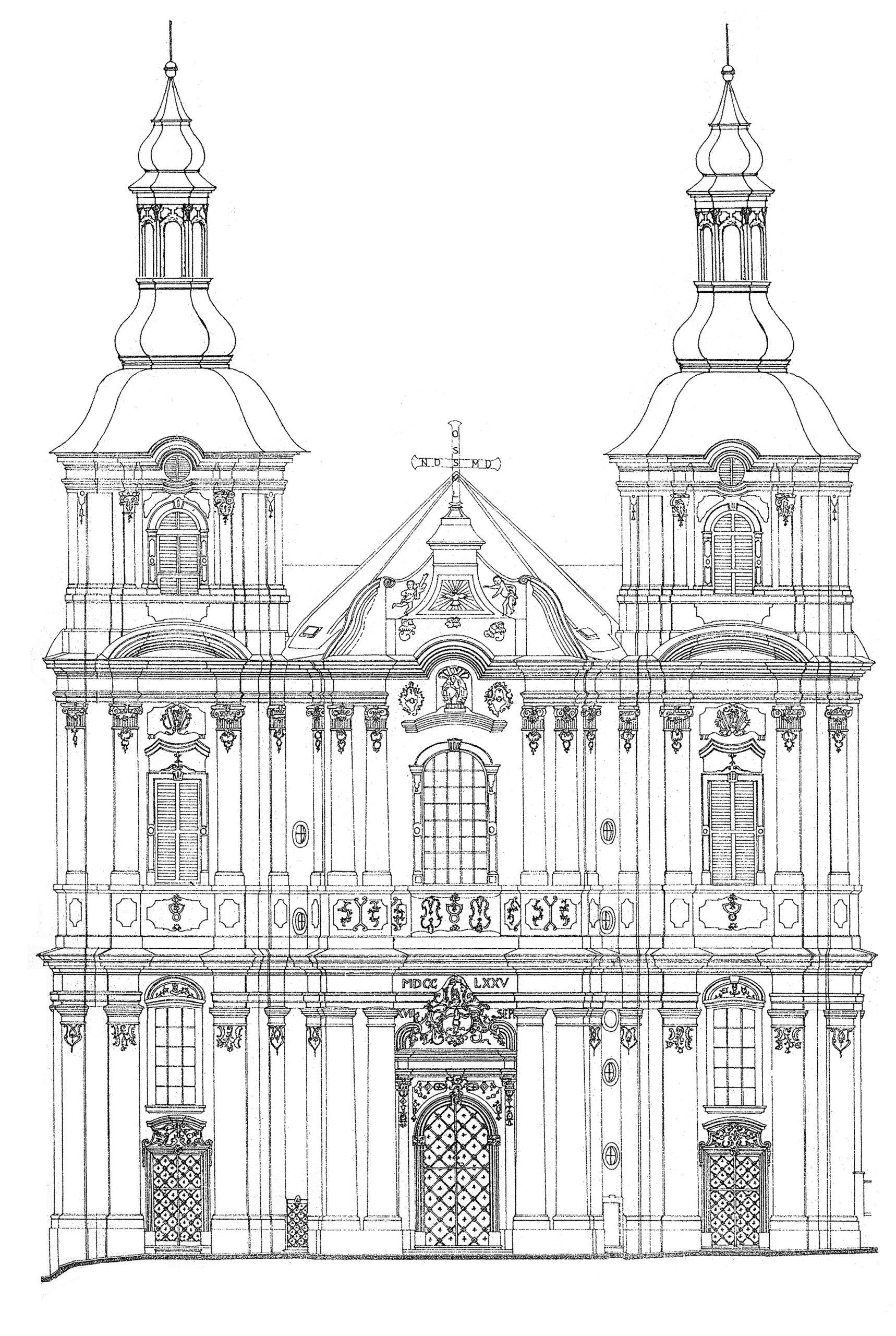 Kostel Nanebevzetí Panny Marie vPřešticích, havní průčelí – realizovaný návrh dostavby věží