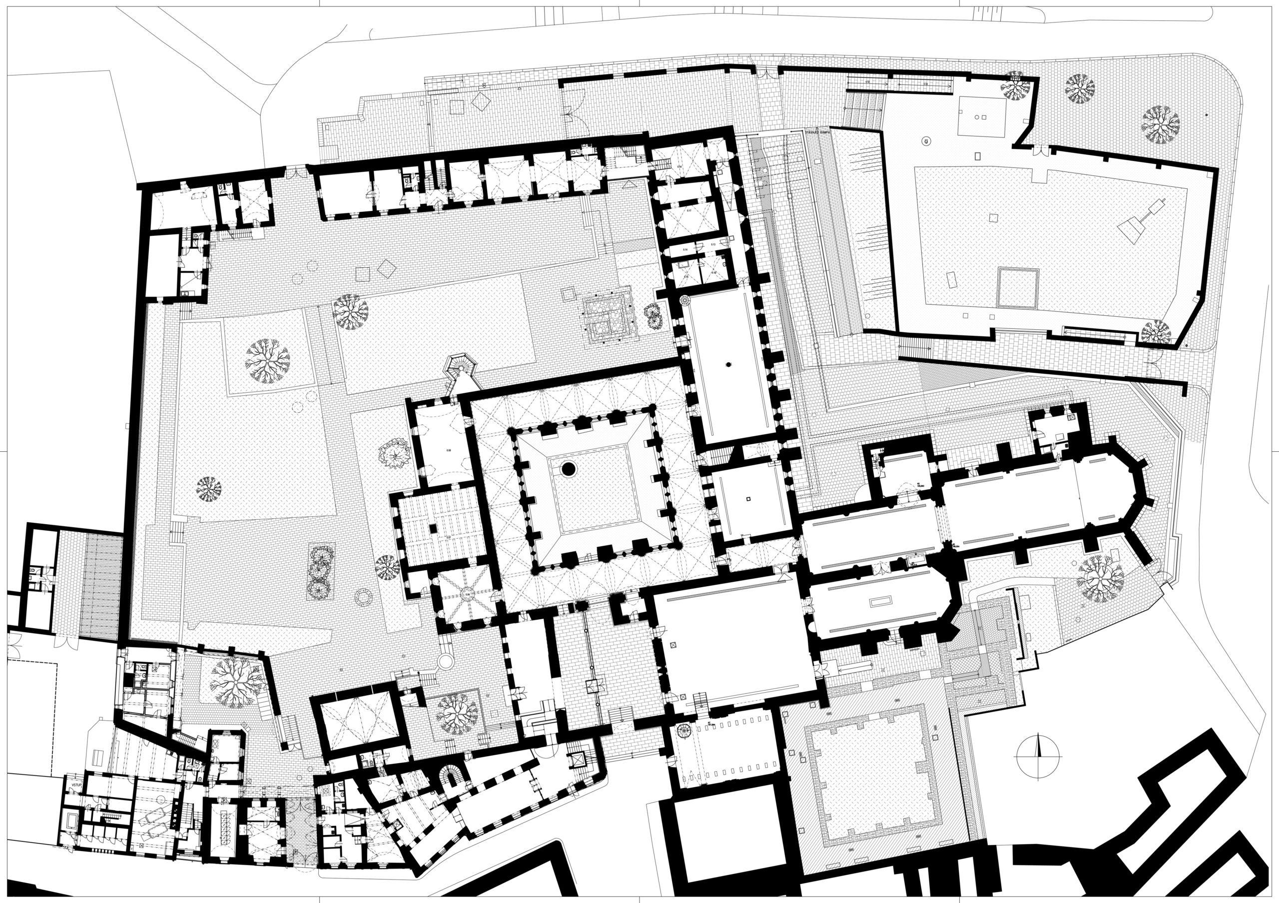 Úprava zahrady kláštera menších bratří aploch na severní straně Anežského kláštera, Praha 1