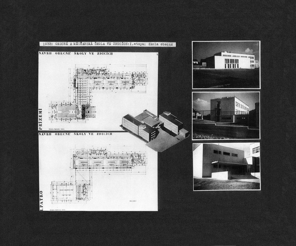Původní návrh základní školy ve Zdicích podle architekta Václava Velvarského (1933)